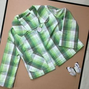 Coco and Chase Blazer Green/White Plaid